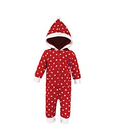 Baby Girls and Boys Polka Dot Fleece Coveralls and Playsuits Jumpsuits