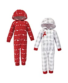 Baby Toddler Girls and Boys Santas Sleigh Fleece Coveralls and Playsuits Jumpsuits, Pack of 2