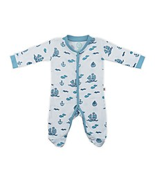 Baby Boys Sailboats Footed Bodysuit