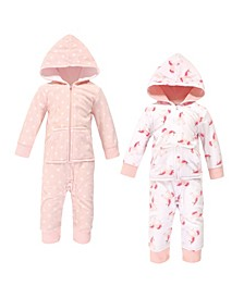 Baby Girls Unicorn Fleece Jumpsuits, Coveralls and Playsuits, Pack of 2