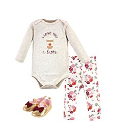Baby Girls Fall Latte Bodysuit, Pant and Shoe Set, Pack of 3