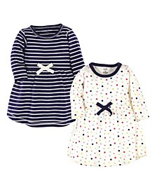 Baby Girls Colorful Dot Long-Sleeve Dresses, Pack of 2