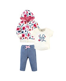 Toddler Girls and Boys Garden Floral Hoodie, Bodysuit or Tee Top and Pant, Pack of 3