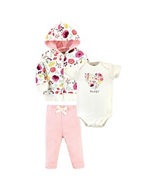 Baby Girls and Boys Botanical Hoodie, Bodysuit or Tee Top and Pant, Pack of 3