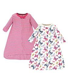 Baby Girls Bright Butterflies Long-Sleeve Wearable Sleeping Bag Sack, Pack of 2