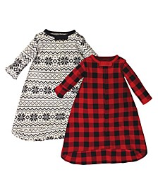 Baby Girls and Boys Buffalo Plaid Long-Sleeve Wearable Sleeping Bag Sack, Pack of 2