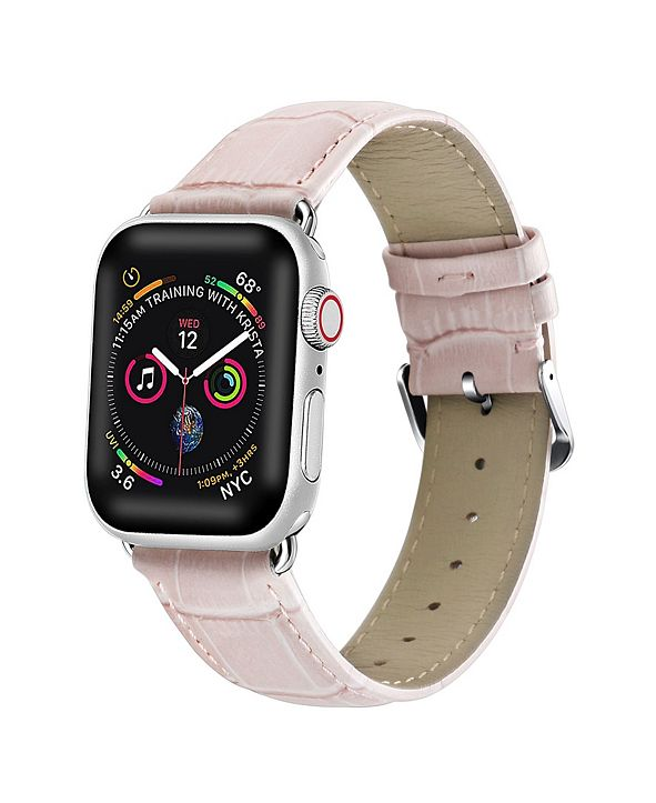 Posh Tech Men's and Women's Apple Pink Leather Replacement Band 40mm