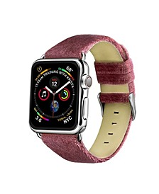 Men's and Women's Apple Berry Wool Velvet, Leather, Stainless Steel Replacement Band 44mm