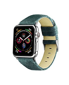 Men's and Women's Apple Moss Green Wool Velvet, Leather, Stainless Steel Replacement Band 44mm