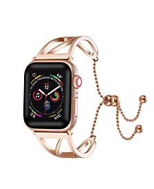Men's and Women's Apple Rose Gold Elegant Stainless Steel, Leather Replacement Band 44mm