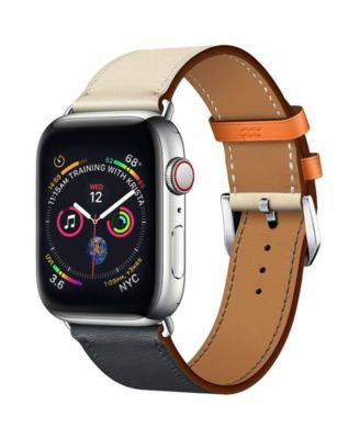 Men's and Women's Apple Blue and White Colored Leather Replacement Band 40mm
