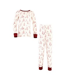 Big Girls and Boys Winter Woodland Tight-Fit Pajama Set, Pack of 2