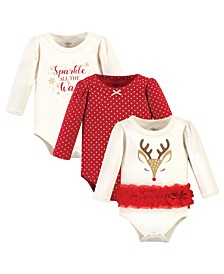 Baby Girls Pretty Reindeer Bodysuits, Pack of 3