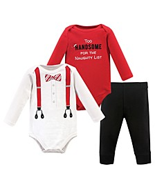 Baby Boys Suspenders Bodysuit and Pant Set, Pack of 3