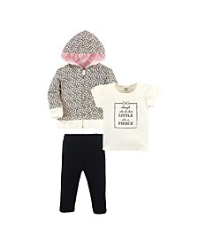 Toddler Girls and Boys Leopard Hoodie, Bodysuit or Tee Top and Pant Set, Pack of 3