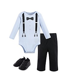 Baby Boys Ladies Man Bodysuit, Pant and Shoe Set, Pack of 3
