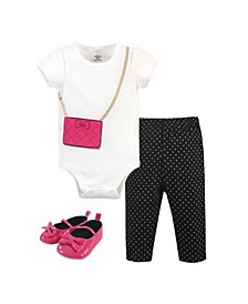 Baby Girls Purse Bodysuit, Pant and Shoe Set, Pack of 3