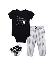 Baby Girls and Boys Bottle Bodysuit, Pant and Shoe Set, Pack of 3