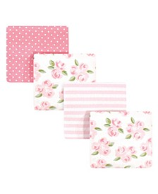 Baby Girls and Boys Beyoutiful Flannel Receiving Blankets, Pack of 4
