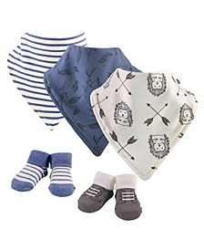 Baby Girls and Boys Wild Woodland Yoga Sprout Bandana Bibs and Socks, Pack of 5