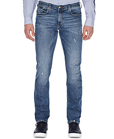 A|X Armani Exchange Men's Straight Fit Ripped Jeans
