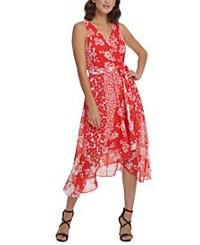 Mixed Floral Chiffon V-Neck Midi Wrap Dress with Belt