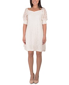 Petite Lace Sweetheart-Neck Dress