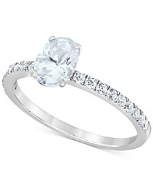 Macy's Star Signature Certified Diamond Oval Engagement Ring (1-1/4 ct. t.w.) in 14k White Gold