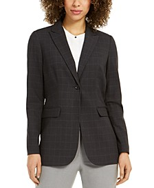 Petite Windowpane Plaid Blazer