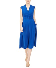 Belted Surplice Midi Dress