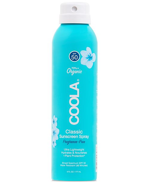 COOLA Classic Body Organic Sunscreen Spray SPF 50 - Fragrance Free, 6-oz.