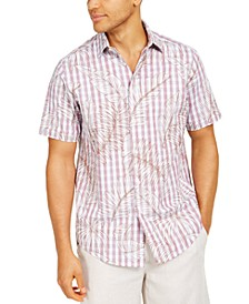 Men's Stretch Botanical Plaid-Print Shirt, Created for Macy's