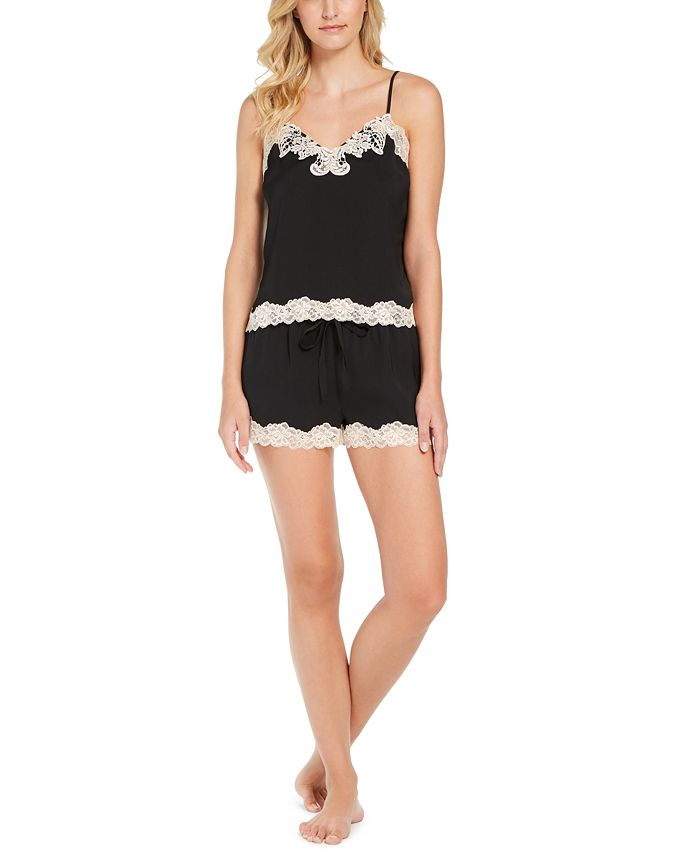 INC International Concepts - Antique-Look Lace Woven Top and Pajama Shorts Set