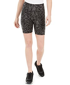 INC Women's Snake-Embossed Bike Shorts, Created for Macy's