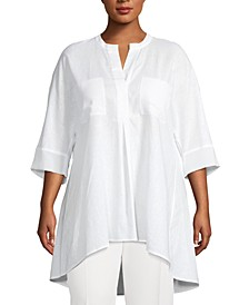 Plus Size Linen High-Low Top