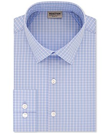 Men's Slim-Fit All Day Flex Performance Stretch Deep Blue Check Dress Shirt