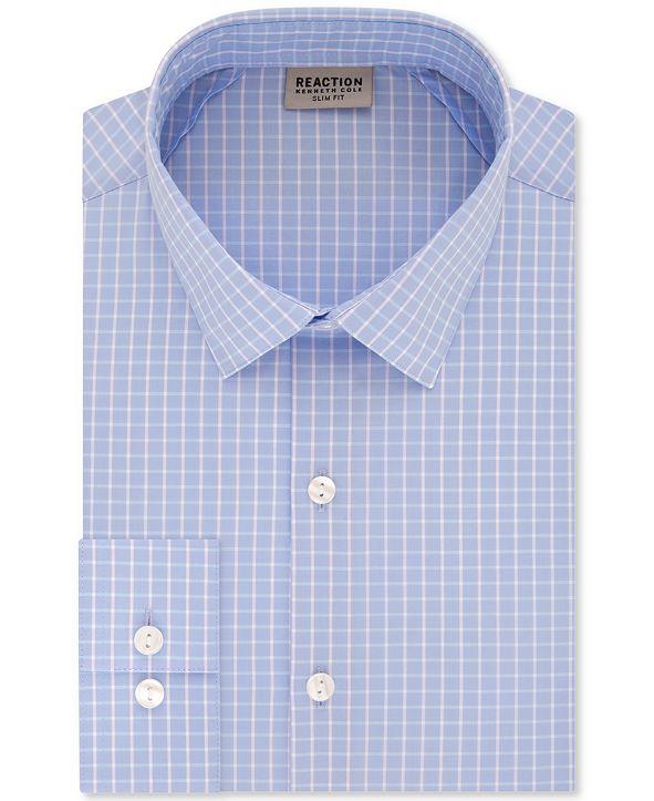 Kenneth Cole Reaction Men's Slim-Fit All Day Flex Performance Stretch Deep Blue Check Dress Shirt