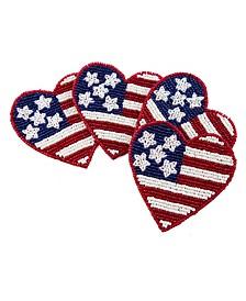 Beaded Flag Heart Coasters
