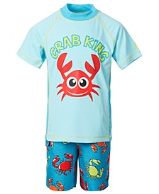 Toddler and Little Boys 2-Pc. Crab King Swim Set