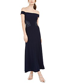 Petite Off-The-Shoulder Appliqué Gown