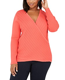 INC Plus Size Pointelle Surplice Sweater, Created For Macy's