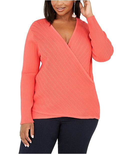 INC International Concepts INC Plus Size Pointelle Surplice Sweater, Created for Macy's