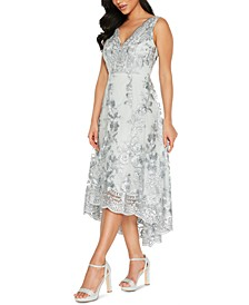 Juniors' Embroidered Lace-Hem Dress