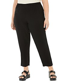 Plus Size Silk Tapered Pants