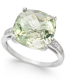 Mint Quartz (6-1/4 ct. t.w.) & White Topaz (1/10 ct. t.w.) Statement Ring in Sterling Silver