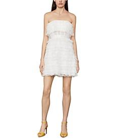 Strapless Ruffled Tulle Mini Dress