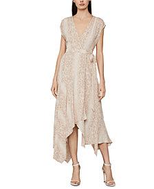 BCBGMAXAZRIA Snake-Embossed Wrap Dress