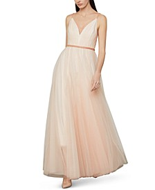 Beaded-Waist Tulle Gown