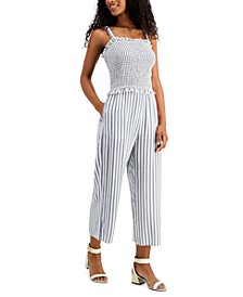 Juniors' Smocked Striped Jumpsuit