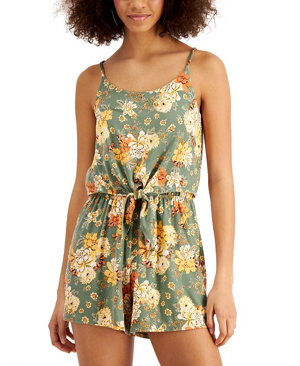 Ultra Flirt Juniors' Floral-Print Tie-Front Romper